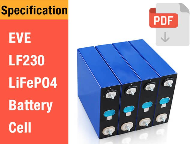 EVE 3.2V 230Ah LF230 LiFePO4 battery cell specification