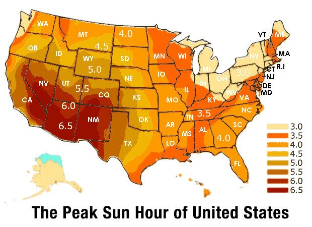 Peak Sun Hour for Each State of The United States